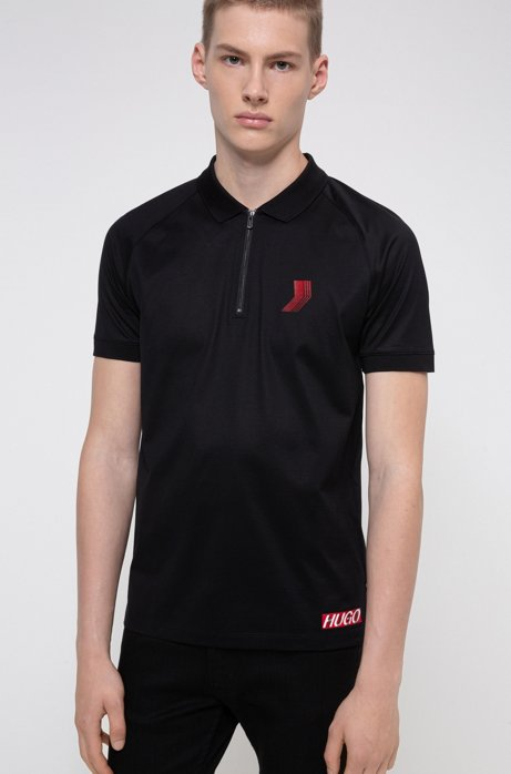 Unisex slim-fit polo shirt in mercerized cotton, Black
