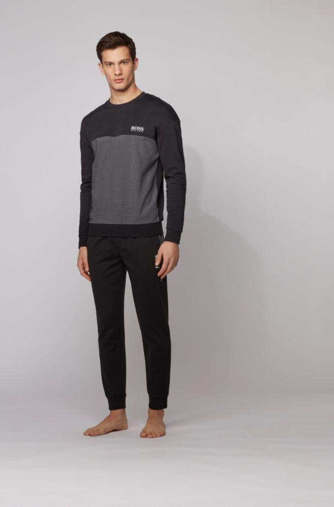Color-block loungewear sweatshirt with heat-seal logo