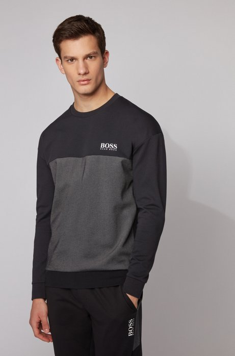 Color-block loungewear sweatshirt with heat-seal logo, Black