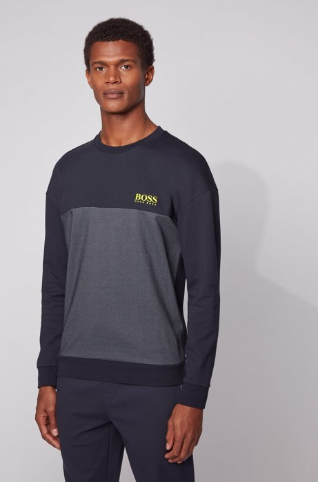 Color-block loungewear sweatshirt with heat-seal logo, Dark Blue