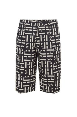 Monogram-print relaxed-fit shorts in stretch-cotton poplin, Black
