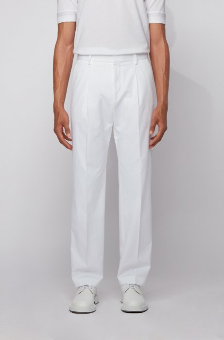 Relaxed-fit pants in stretch-cotton twill, White
