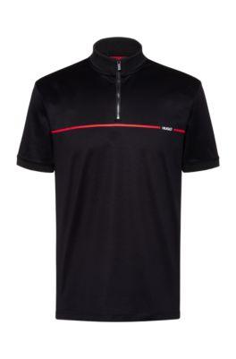 Mercerised-cotton polo shirt with red stripe logo, Black