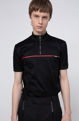 Mercerised-cotton polo shirt with red stripe logo, Black