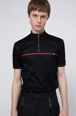 Polo en coton mercerisé avec logo intégré dans une rayure rouge, Noir