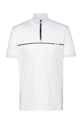 Mercerised-cotton polo shirt with red stripe logo, White