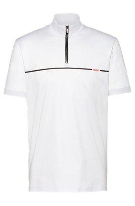 Mercerised-cotton polo shirt with red stripe logo, White