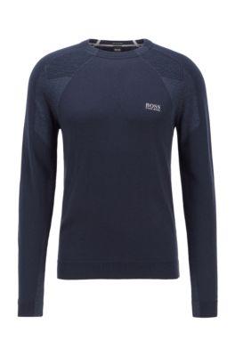 Logo-print crew-neck sweater with S.Café®, Dark Blue