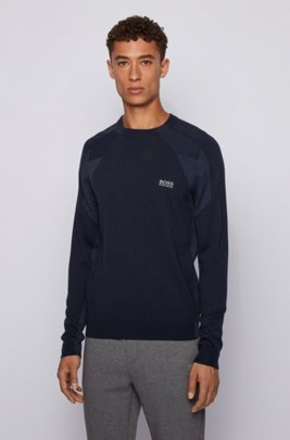 Logo-print crew-neck sweater with S.Café®, Dark Blue