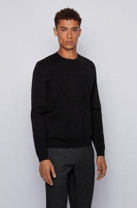 Crew-neck sweater with logo jacquard , Black