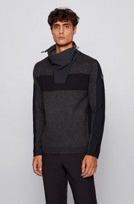 Funnel-neck sweater in a virgin-wool blend, Dark Grey