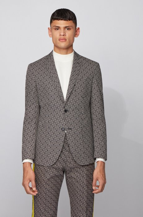 Extra-slim-fit jacket in cotton jacquard, Black