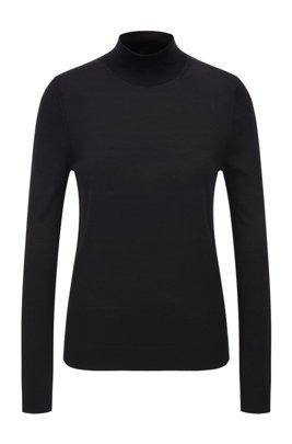 Mock-neck sweater in virgin wool, Black