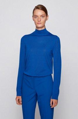 Mock-neck sweater in virgin wool, Light Blue