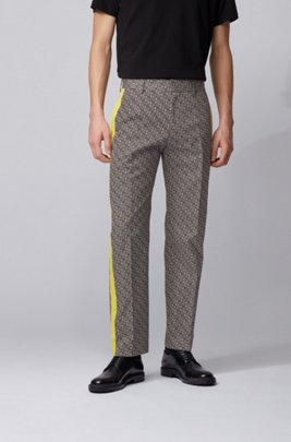 Relaxed-fit pants in cotton with contrast panels, Black
