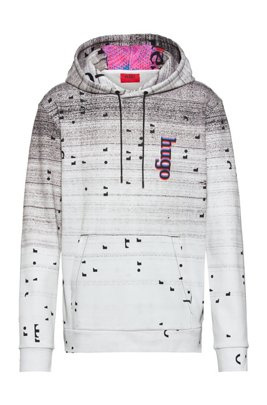 Unisex relaxed-fit hooded sweatshirt with graphic print, White