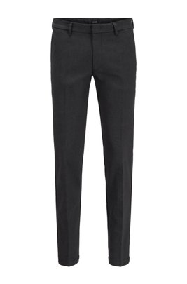 Slim-fit suit in a checkered stretch-cotton blend, Black