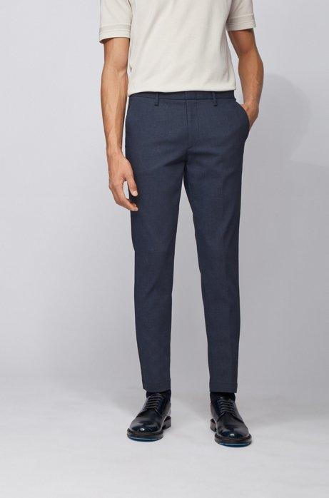 Slim-fit suit in a checkered stretch-cotton blend, Dark Blue