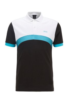 Slim-fit polo shirt with curved color-blocking, Black