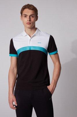Polo Slim Fit à rayures color block incurvées, Noir