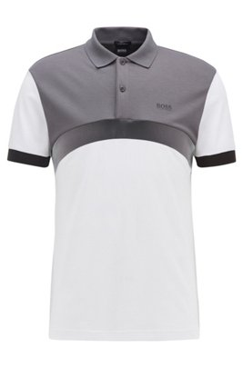 Slim-fit polo shirt with curved color-blocking, White
