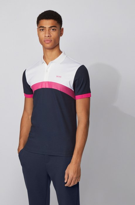 Slim-fit polo shirt with curved color-blocking, Dark Blue