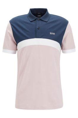 Slim-fit polo shirt with curved color-blocking, light pink