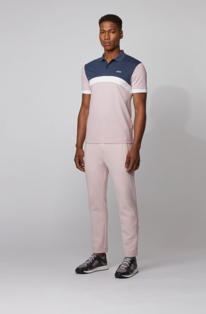 Polo Slim Fit à rayures color block incurvées