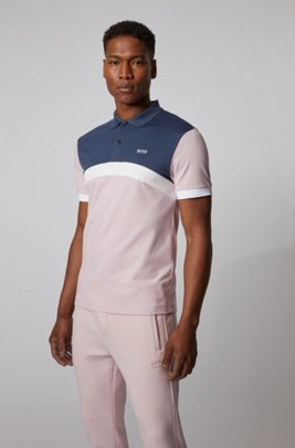 Polo Slim Fit à rayures color block incurvées, Rose clair