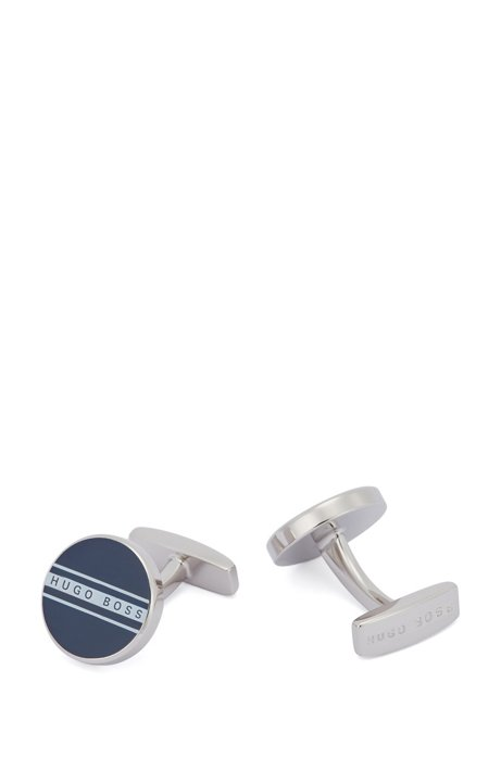 Round cufflinks with stripe and logo, Dark Blue