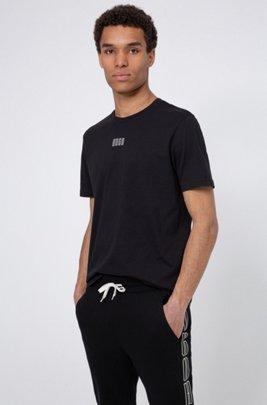 Unisex cotton T-shirt with new-season logo print, Black