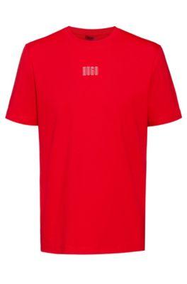 Unisex cotton T-shirt with new-season logo print, light pink