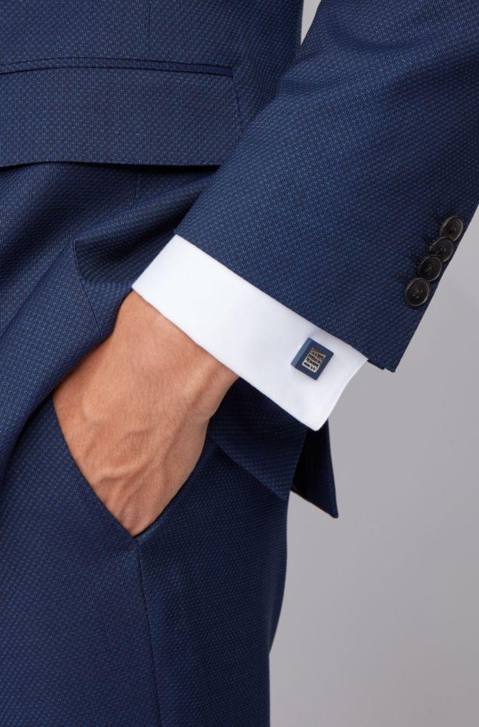 Square cufflinks in matte enamel with new-season monogram