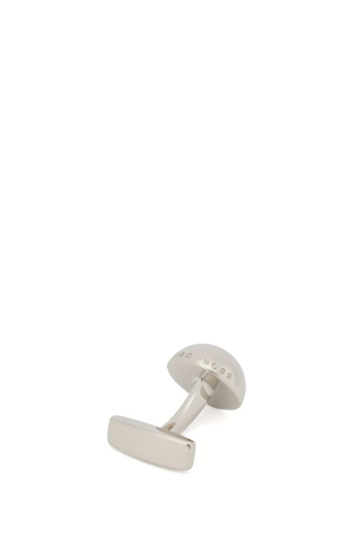 Domed cufflinks in brass with logo trim