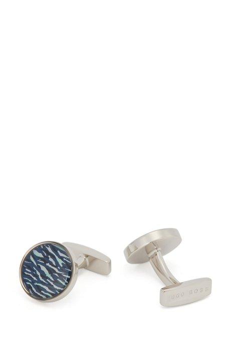 Round cufflinks with seasonal print, Light Blue
