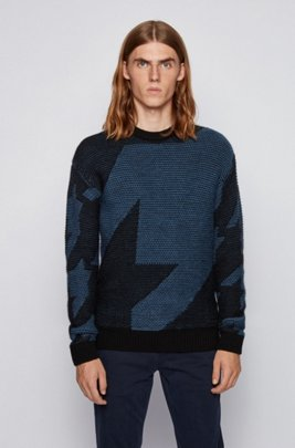 Relaxed-fit sweater with two-tone houndstooth pattern, Black