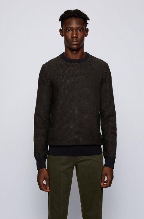 Regular-fit sweater in a cotton-kapok blend, Black
