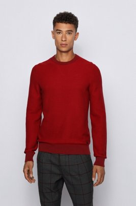 Regular-fit sweater in a cotton-kapok blend, Red
