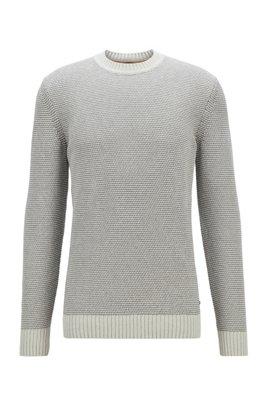 Regular-fit cotton-blend sweater with 3D structure, Light Blue