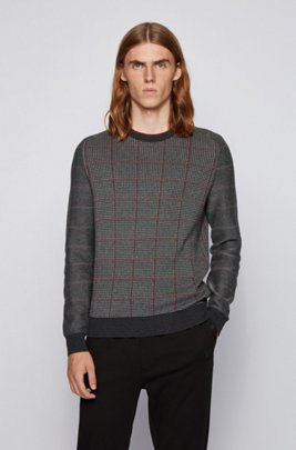 Knitted sweater in a cotton blend with checked panels, Grey
