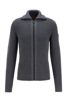 Turtleneck knitted jacket with zip-through front, Grey