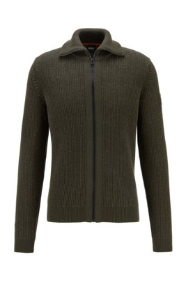 Turtleneck knitted jacket with zip-through front, Light Green