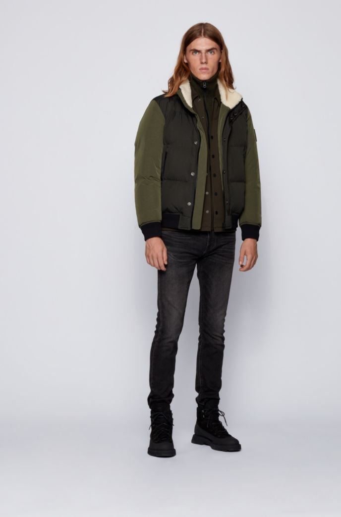 Turtleneck knitted jacket with zip-through front
