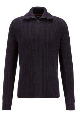 Turtleneck knitted jacket with zip-through front, Dark Blue