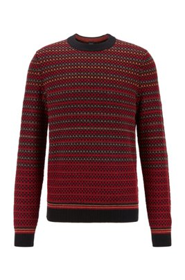 Crew-neck sweater with multicolored structured stripes, Black