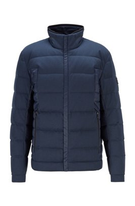 Water-repellent down jacket with mixed fabrics, Dark Blue