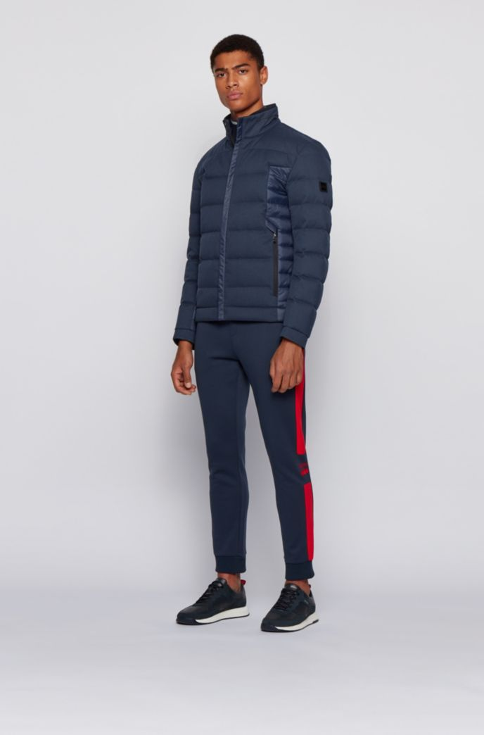 Water-repellent down jacket with mixed fabrics