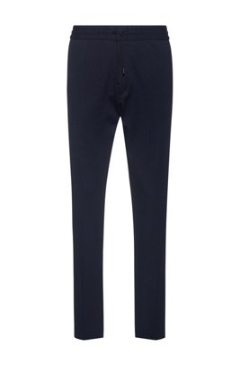 Tapered-fit jersey pants with elasticated waist, Dark Blue