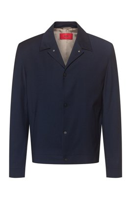 Wool-blend slim-fit jacket with press studs, Dark Blue