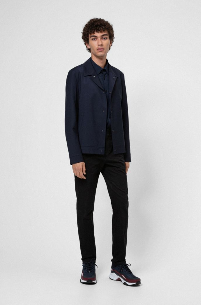 Wool-blend slim-fit jacket with press studs